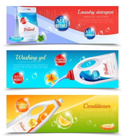 Three colored detergents clothes horizontal banner set with laundry detergent washing gel and conditioner descriptions vector illustration