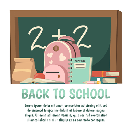 School orthogonal background with back to school headline and chalkboard pink backpack vector illustration