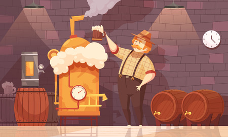 양조장 근처 맥주 생산을 시연하는 양조장에서 양조장 및 플랜트 장비 평면 만화 벡터 일러스트 레이 션
