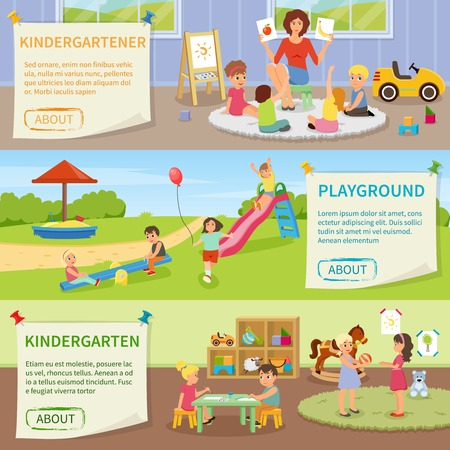 Set of flat horizontal banners with kindergarten including teacher with kids, fun on playground isolated vector illustration