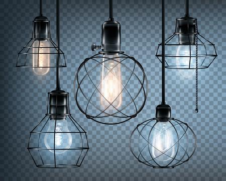 白熱電球でセットされた透明な背景のベクトル図に着色された現実的なロフト スタイル ライト アイコン  イラスト・ベクター素材