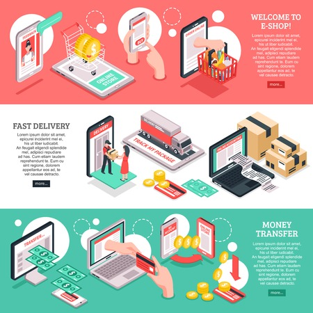 E-commerce sklep internetowy strona internetowa 3 izometryczny projekt banerów z opcjami płatności i dostawy na białym tle ilustracji wektorowych Ilustracje wektorowe
