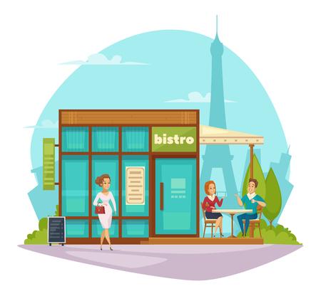 pareja comiendo: Calle cafetería bistro terraza de verano toldo composición plana con los clientes y torre eiffel sobre fondo ilustración vectorial