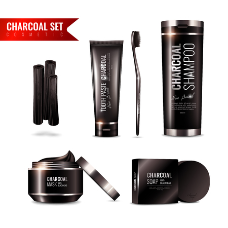 Charcoal cosmetics set with tooth brush and paste, shampoo, mask, soap on white background isolated.