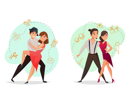 Famous dance styles 2 web templates set with pairs tango and salsa moves retro isolated vector illustration