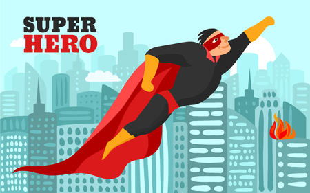 Smiling superhero in red black clothing and mask, flying over city at day time vector illustration