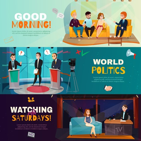 Cartoon set of three colorful horizontal banners presenting scenes from different talk shows isolated vector illustration
