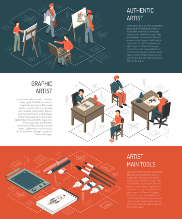 Horizontal isometric banners with authentic and graphic artists, tools for painting and computer drawing isolated vector illustration Illustration