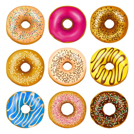 Realistic set of delicious glazed donuts with colorful toppings isolated on white background vector illustration Illustration