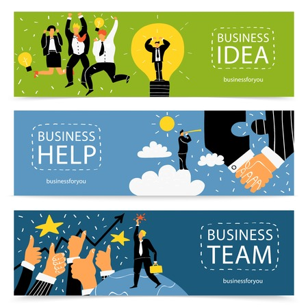 Three horizontal success business banner set with business idea help and team headlines vector illustration