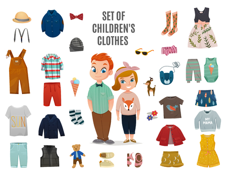 Colored flat children fashion big icon set with set of children clothes headline vector illustration