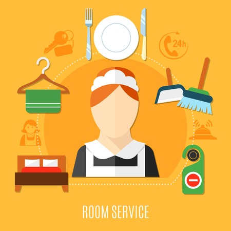 Room service in hotel design concept with maid figurine in uniform double bed room keys towel on hanger flat icons vector illustration Ilustração