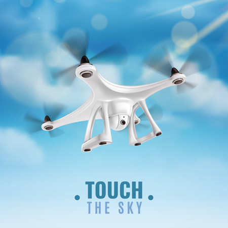 Realistic quadcopter drone with digital camera flying in blue sky vector illustration