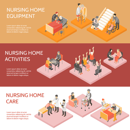 Nursing home 3 horizontal infographic elements isometric banners set with equipment and daily activities isolated vector illustration Illustration