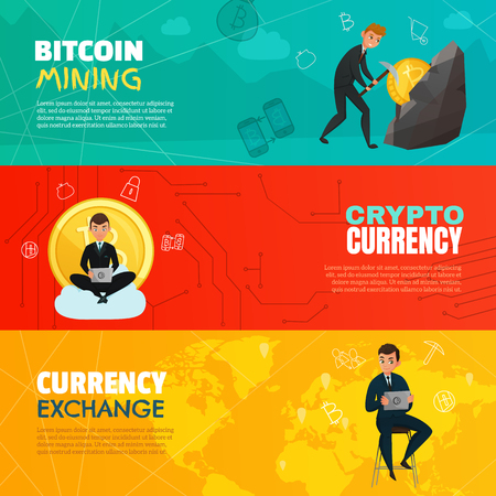 cash: Bright cartoon set of three horizontal bitcoin mining and cryptocurrency banners isolated on colorful background vector illustration