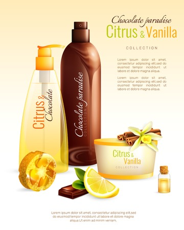 Handmade body cosmetics with nutritive ingredients including chocolate, citrus, vanilla and natural sponge ad poster vector illustration