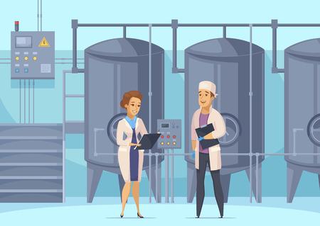 Composition de dessin animé de production laitière avec les travailleurs d'usine sur fond de réservoirs pour illustration vectorielle de pasteurisation de lait Vecteurs