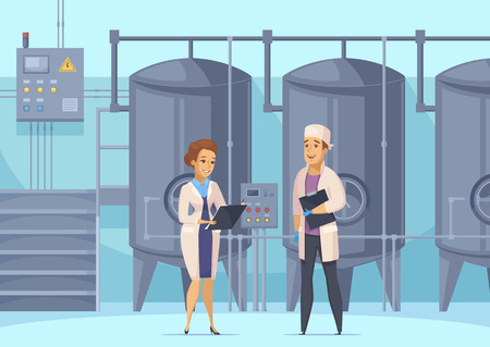 Dairy production cartoon composition with factory workers on background of tanks for milk pasteurization vector illustration Çizim