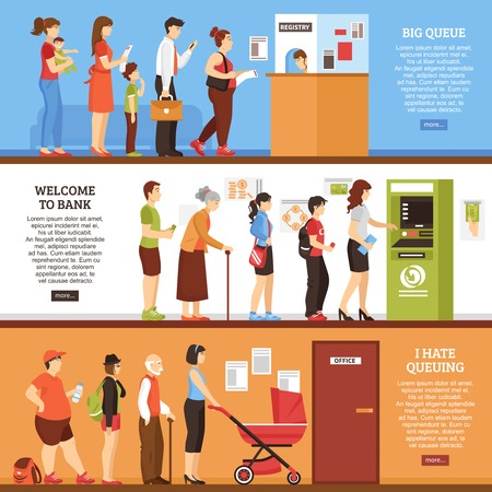 Queue horizontal banners set with ATM and office symbols flat isolated vector illustration Illustration