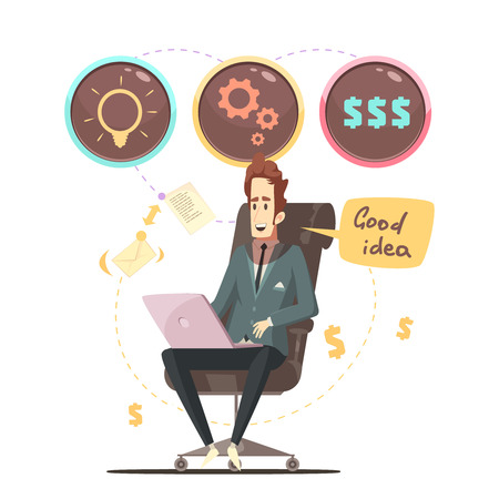 Successful business project manager in office armchair with good ideas bubbles icons retro cartoon poster vector illustration Illustration