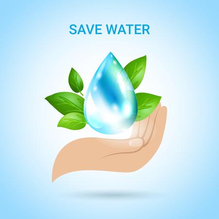 Sparen waterachtergrond in realistische stijl met menselijke hand en daling van de vectorillustratie van zuiver water decoratieve pictogrammen