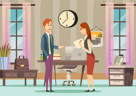 Office colored orthogonal background with two employers discussing in room next to the table vector illustration