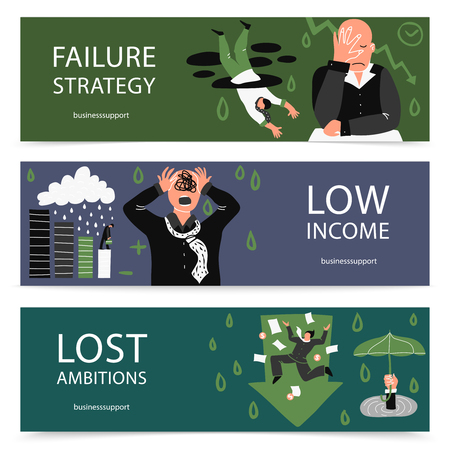 Three horizontal failure business banner set with failure strategy low income and lost ambitions descriptions vector illustration Illustration