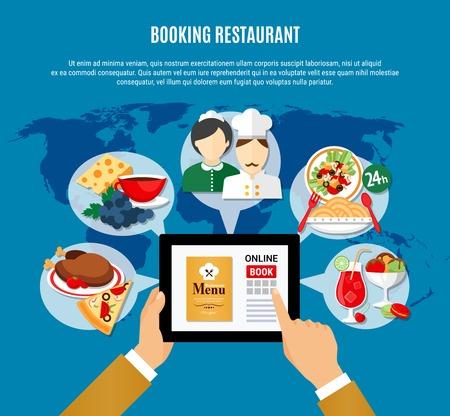 Man reading menu and booking restaurant online flat vector illustration Ilustração