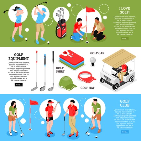 Golf isometric horizontal banners set with golf equipment symbols isolated vector illustration