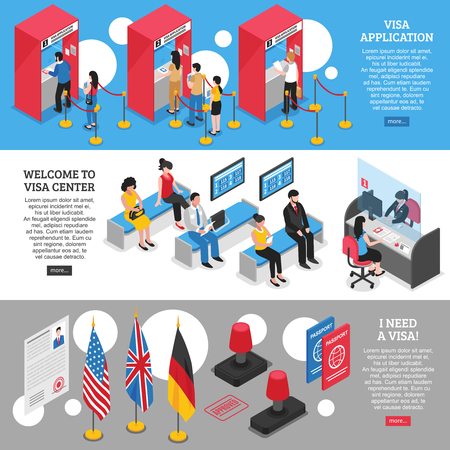 Visa center horizontal banners set with application symbols isometric isolated vector illustration