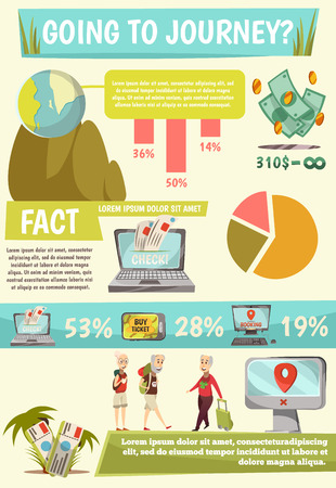 Online booking services infographics with going to journey headline and facts of online booking vector illustration Illustration