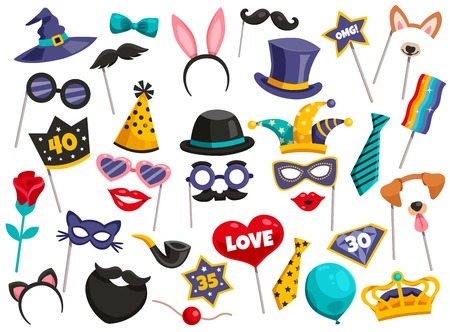 Colored isolated photo booth party icon set scattered mustaches masks hats on white background vector illustration