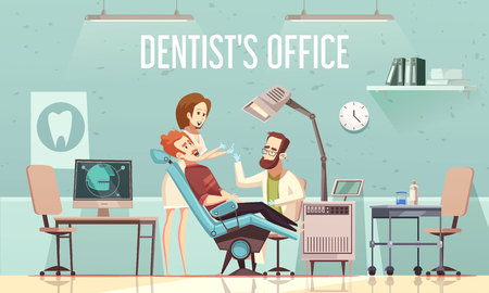 Dentists office cartoon vector illustration with with stomatological equipment patient in chair doctor and assistant Vettoriali