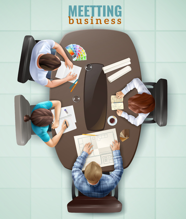 Group of people having business meeting at office top view realistic vector illustration