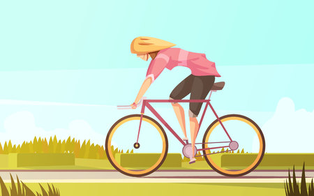 Sportswoman retro cartoon composition with flat female character riding bike in bicycle helmet with suburban scenery vector illustration