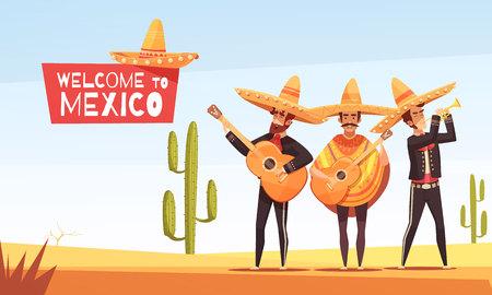 I musicisti messicani vector l'illustrazione con tre uomini con le chitarre nei vestiti indigeni e nell'illustrazione piana di vettore del sombrero Archivio Fotografico - 86093081