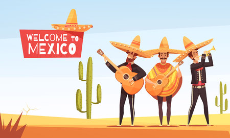Mexican musicians vector illustration with three men with guitars in native clothes and sombrero flat vector illustration