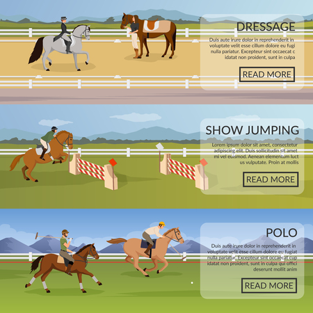 Equestrian sport set of flat horizontal banners with dressage, show jumping, polo on horses isolated vector illustration