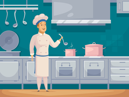 Yacht cruise ship crew cook cartoon character in galley kitchen preparing food poster abstract retro vector illustration