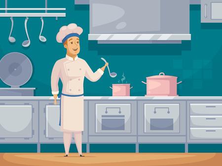 Yacht cruiseschip crew kok cartoon karakter in de keuken keuken voorbereiden voedsel poster abstracte retro vector illustratie