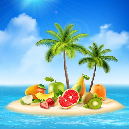 Fresh fruit conceptual background with composition of tropical island with palms and fruit slices on sands vector illustration Illustration