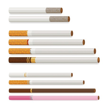 Various cigarettes of different size and color realistic set isolated on white background vector illustration