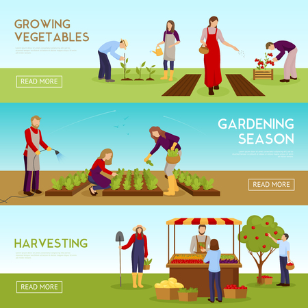 Set of horizontal banners with people growing vegetables, gardening season, harvesting, sale of crop isolated vector illustration Illustration