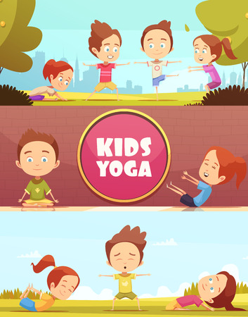 Kids yoga horizontal banners with cartoon images of children doing yoga exercises outdoors flat vector illustration Illustration