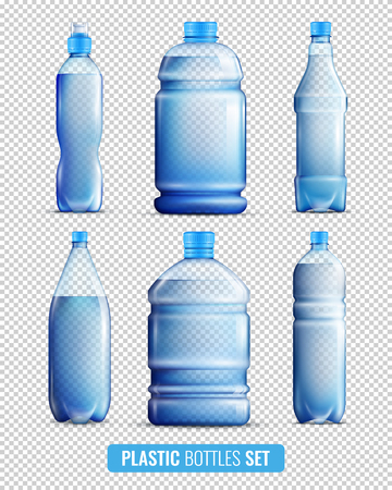 Colored and realistic 3d plastic bottles transparent icon set on transparent background vector illustration Illustration