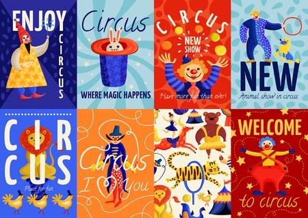 Ensemble d'affiches de cirque et de bannières avec clown, magicien, dressé des animaux sur illustration vectorielle fond coloré Banque d'images - 86093092