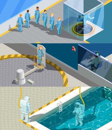Astronaut trainingsprogramma isometrische horizontale composities instellen met menselijke karakters en simulatie training systeem oefening apparaten vectorillustratie Stock Illustratie