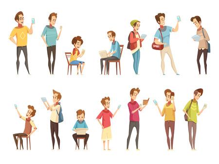 Tienerjongensgroepen met elektronische slimme cellphonesgadgets die online retro de inzameling geïsoleerde vectorillustratie van beeldverhaalpictogrammen communiceren Stock Illustratie