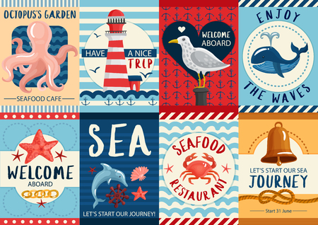 Set of nautical colorful banners and posters with sea wildlife for restaurants and journeys isolated vector illustration