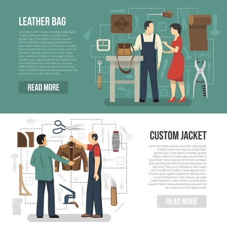 Manufacturing of leather clothing and accessories horizontal banners with customers and skinners demonstrating finished goods flat vector illustration Ilustração